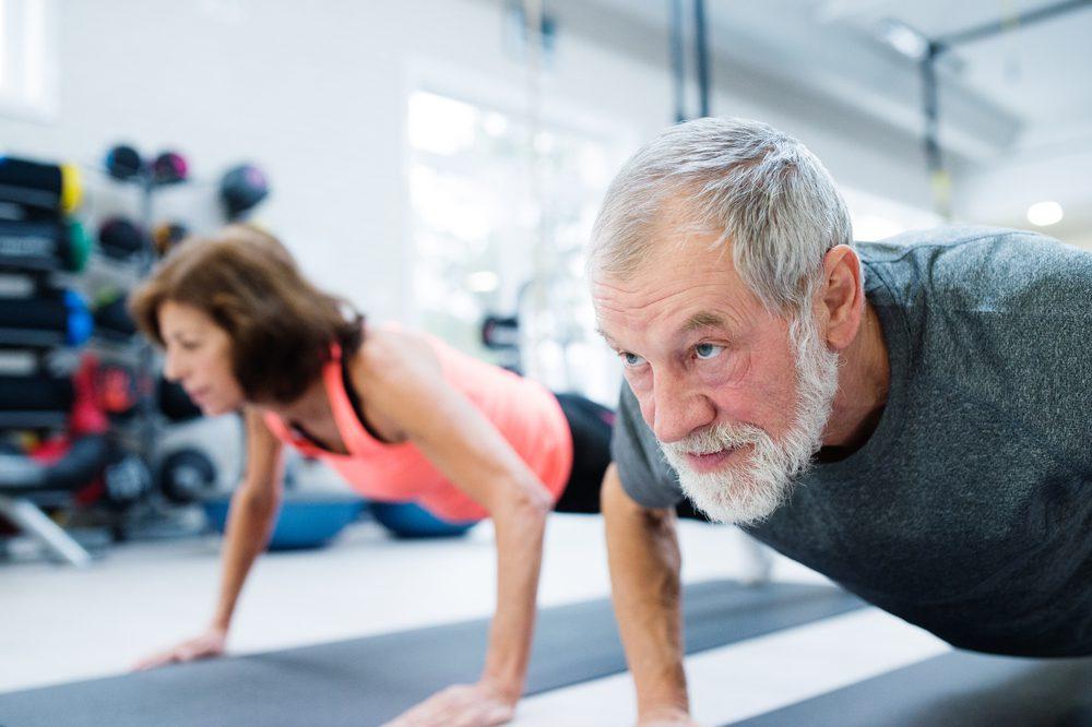 Old man doing push ups